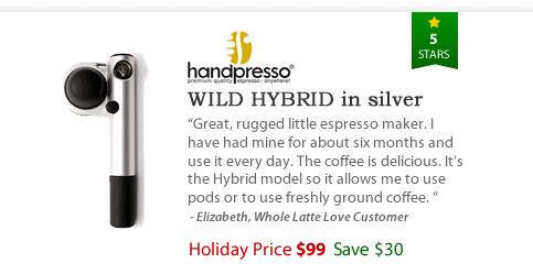Handpresso Wild Hybrid in Silver - $99 - Save $30