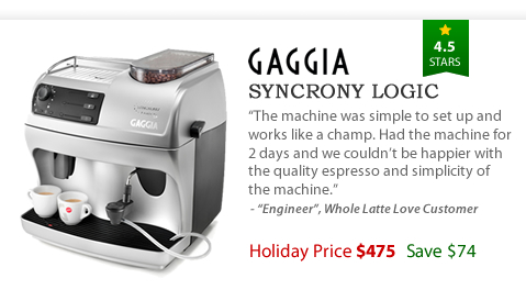 Gaggia Syncrony Logic Rapid Steam - $475 - Save $74