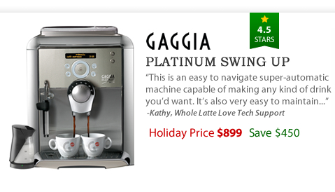 Gaggia Platinum Swing Up - $899 - Save $450
