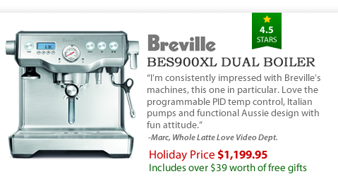 Breville BES900XL Dual Boiler - $1,199.95 - Includes over $39 worth of free gifts