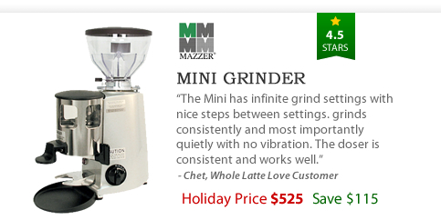 Mazzer Mini Coffee Grinder - $525 - Save $115