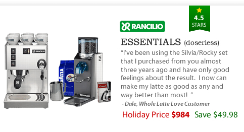Rancilio Silvia and Rocky Doserless Essentials Pack - $984 - Save $49.98 with package price
