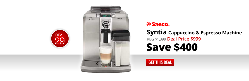 Saeco Syntia Cappuccino and Espresso Machine - Deal Price: $999 - Save $400